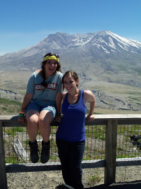 Pinchoff and her sister in front of Mount St. Helens in Washington.